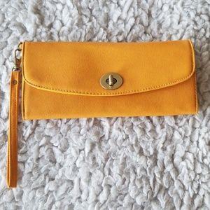 Splash Mustard colored wristlet wallet